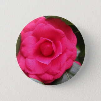 Red flower of Camellia japonica Rachele Odero 6 Cm Round Badge