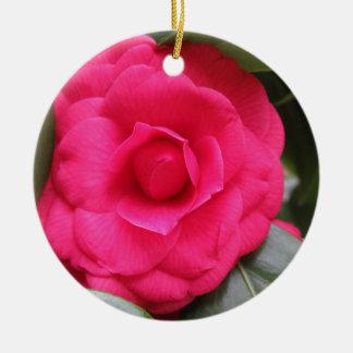 Red flower of Camellia japonica Rachele Odero Ceramic Ornament