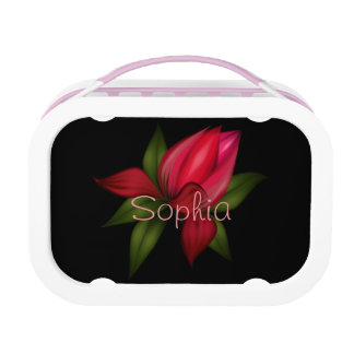 Red Flower on Black Lunchboxes