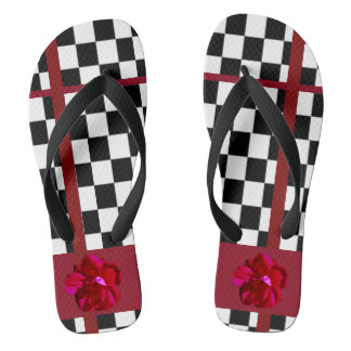 Red Flower on Black White Checker Thongs