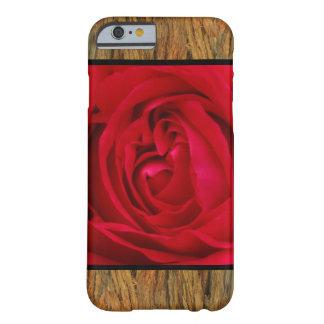 Red Flower on Brown Bark Barely There iPhone 6 Case