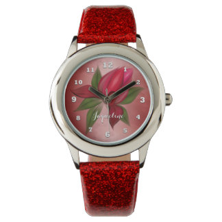 Red Flower on Red with Name Watch