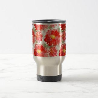 Red Flower Pattern Travel Mug