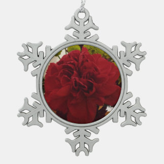 Red Flower Snowflake Pewter Christmas Ornament