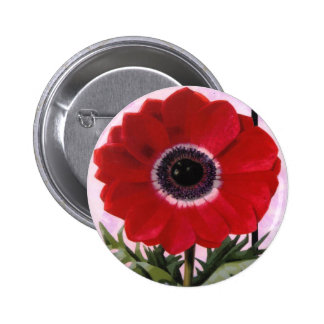 Red Flower Pinback Buttons