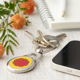 Red Flower Ribbon Silver-Colored Oval Key Ring