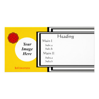 Red Flower Ribbon Template Photo Greeting Card