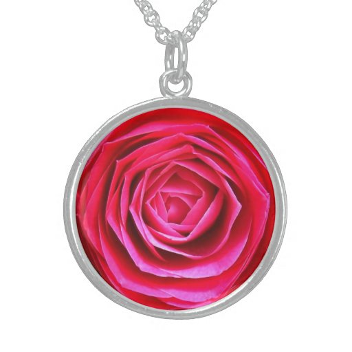 Red Flower Round Silver Necklace