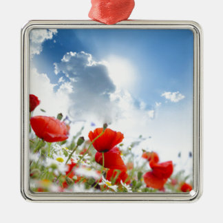 Red flower Silver-Colored square decoration