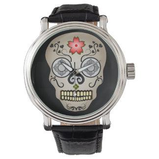 Red Flower Sugar Skull Watch