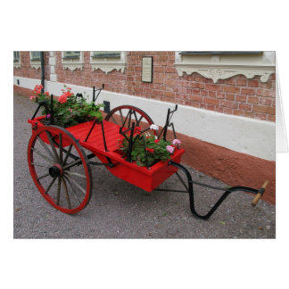 Red Flower-Wagon on Greeting Card