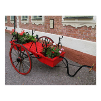 Red Flower-Wagon on Postcard
