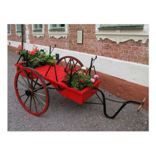 Red Flower-Wagon on Postcard