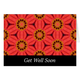 Red Flower Weave - Get Well Greeting Card