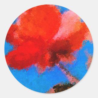 Red Flower with Blue Background Round Sticker