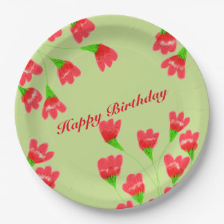 Red Flowered 9 Inch Paper Plates