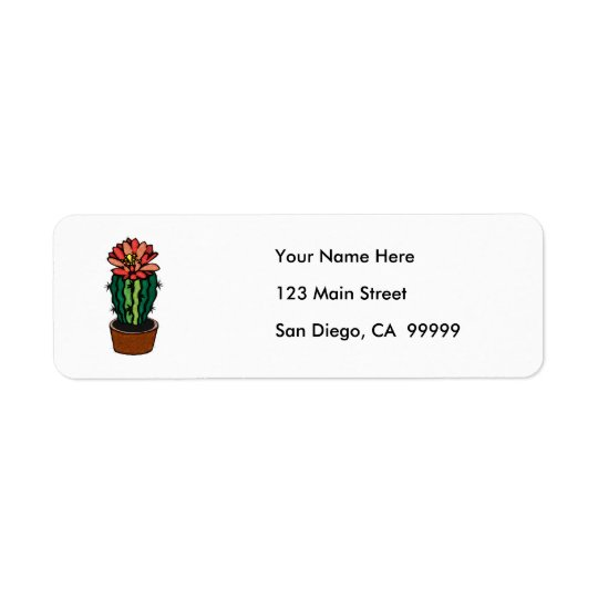 Red Flowered Coloured Ink Cactus Return Address Label