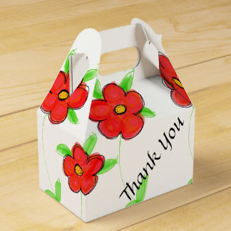 Red Flowered Designer Guest Favor Favour Box