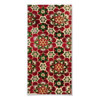 Red Flowered Medici Fabric Poster