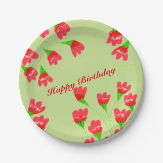 Red Flowered Paper Plates