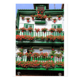 Red flowering pot plants quaint Spanish balcony Postcard