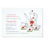 Red Flowers, 5x7 Tea Party Invitations
