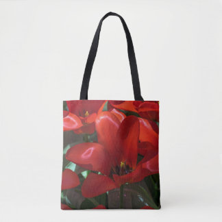 Red flowers all-over-print tote bag