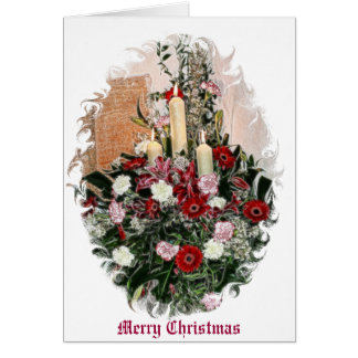 Red Flowers and Candles Greeting Card