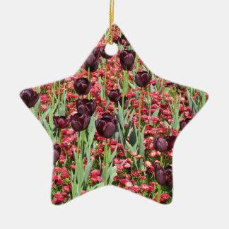 Red Flowers and dark tulips Ceramic Star Decoration
