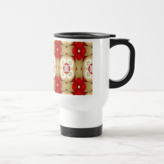 Red Flowers and White Hearts Mug
