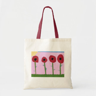 Red Flowers and Yellow Sun on Pink Paper Collage Budget Tote Bag