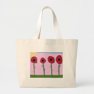 Red Flowers and Yellow Sun on Pink Paper Collage Jumbo Tote Bag