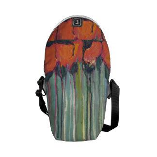 Red flowers bag commuter bag