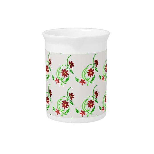 Red flowers beverage pitcher