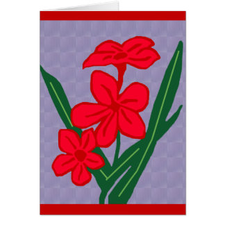 red flowers blank note card