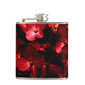 Red Flowers Bouquet in Black Background Photo Flask