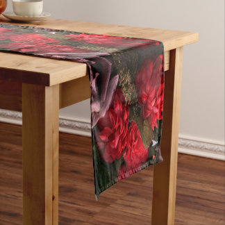 Red Flowers Bouquet Table Runner