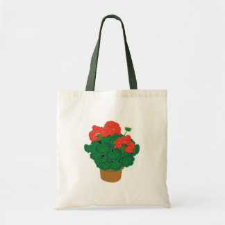 Red flowers budget tote canvas bag