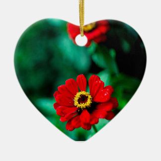 Red flowers ceramic heart decoration