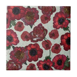 Red flowers Ceramic Photo Tile
