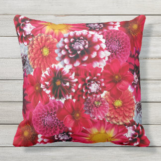 Red Flowers Floral Outdoor Decorative Throw Pillow