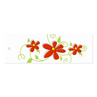 Red Flowers Gift Tags Pack Of Skinny Business Cards