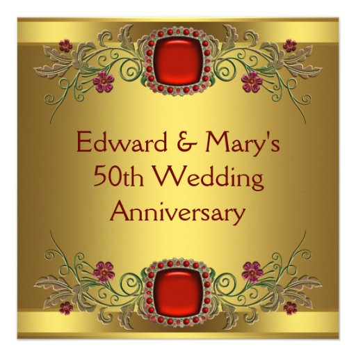Red Flowers Gold 50th Wedding Anniversary Party 13 Cm X 13 Cm Square