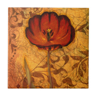 Red Flowers I Small Square Tile