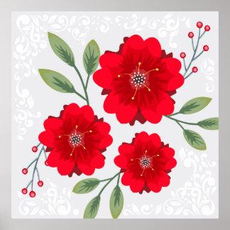 Red flowers illustration poster