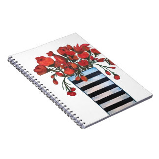 Red Flowers in Black and White Striped Vase Notebooks