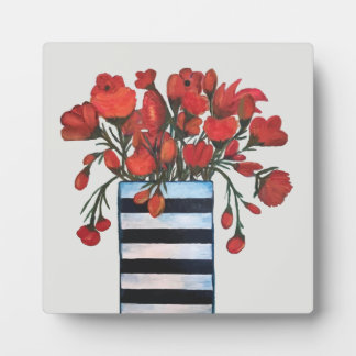 Red Flowers in Black and White Striped Vase Plaque