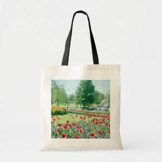 Red Flowers in Valley Gardens, Harrogate, England Tote Bag
