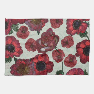 """Red flowers Kitchen Towel 16"""" x 24"""""""