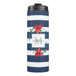 Red Flowers Navy Blue & White Stripes Personalized Thermal Tumbler
